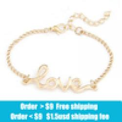 Low Price on Crystal shop Fashion Korea simple LOVE metal Bracelets jewelry wholesale free shipping!