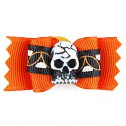 Low Price on Elegant Halloween Skull Style Tiny Rubber Band Hair Bow for Dogs Cats