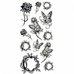 Low Price on 1pc Black Rose Butterfly Waterproof Tattoo Sample Mold Temporary Tattoos Sticker for Body Art(18.5cm8.5cm)