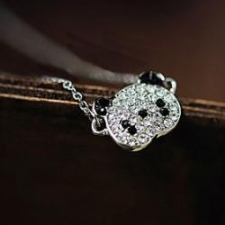 Low Price on Japan and South Korea edition fashion lovely panda full diamond chain necklace clavicle N574